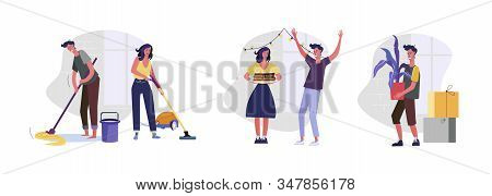 Set Of People Cleaning And Decorating House. Flat Vector Illustrations Of Friends Having Birthday Pa