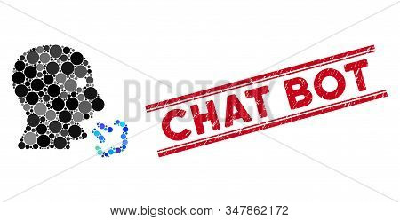 Mosaic Mouth Breath Icon And Distressed Stamp Watermark With Chat Bot Caption Between Double Paralle