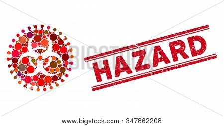 Mosaic Virus Hazard Icon And Distressed Stamp Seal With Hazard Text Between Double Parallel Lines. M