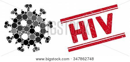 Mosaic Hiv Virus Icon And Grunge Stamp Watermark With Hiv Caption Between Double Parallel Lines. Mos