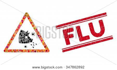Mosaic Swine Flu Warning Icon And Distressed Stamp Seal With Flu Text Between Double Parallel Lines.
