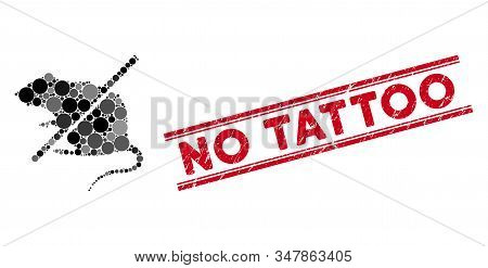 Mosaic Stop Rats Icon And Grunge Stamp Watermark With No Tattoo Phrase Between Double Parallel Lines