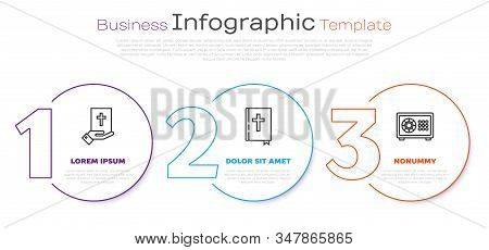Set Line Oath On The Holy Bible, Holy Bible Book And Safe. Business Infographic Template. Vector