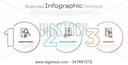 Set Line Document With Search, Oath On The Holy Bible And Oath On The Holy Bible. Business Infograph