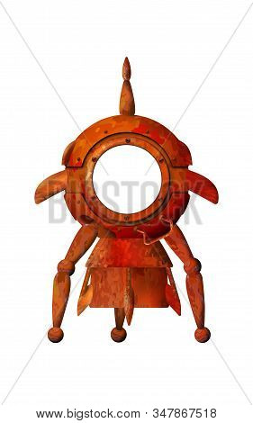 Cartoon 3d Old Rocket. Rusty Spaceship Isolated On White Background. Vector Illustration Eps 10. Pho