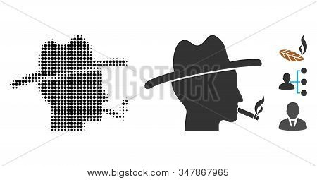 Cigarette Smoker Halftone Vector Icon And Solid Version. Illustration Style Is Dotted Iconic Cigaret