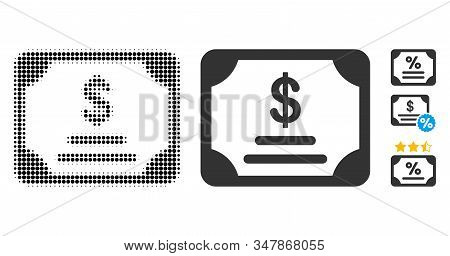 Financial Bond Halftone Vector Icon And Solid Version. Illustration Style Is Dotted Iconic Financial