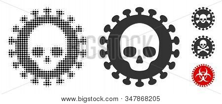 Mortal Virus Halftone Vector Icon And Solid Version. Illustration Style Is Dotted Iconic Mortal Viru