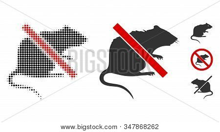 No Rat Halftone Vector Icon And Solid Version. Illustration Style Is Dotted Iconic No Rat Icon Symbo