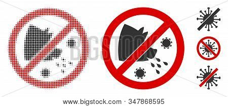 Stop Swine Flu Halftone Vector Icon And Solid Version. Illustration Style Is Dotted Iconic Stop Swin