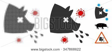 Swine Flu Halftone Vector Icon And Solid Version. Illustration Style Is Dotted Iconic Swine Flu Icon