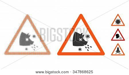Swine Flu Warning Halftone Vector Icon And Solid Version. Illustration Style Is Dotted Iconic Swine