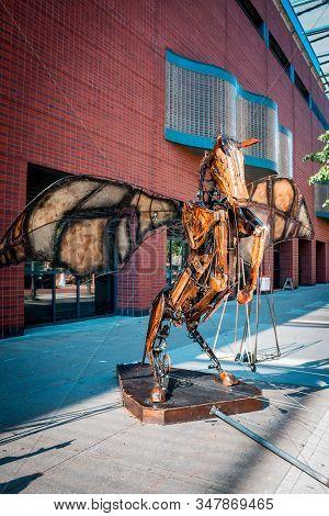 Artprize - Grand Rapids, Mi /usa - October 10th 2016: Giant Animated Winged Pegasus Statue On Displa