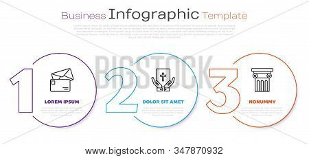 Set Line Envelope, Oath On The Holy Bible And Law Pillar. Business Infographic Template. Vector