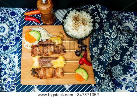 Traditional Japanese skewer Yakitori ready to eat