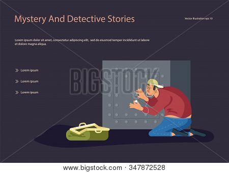 Landing Web Page Template With Robber Tries To Crack A Safe Using A Phonendoscope, Next To An Open B