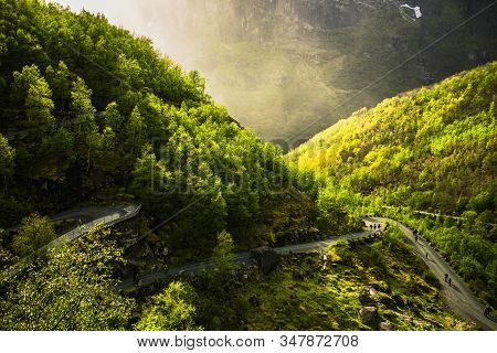 Road On Mountain. Travel Around Europe. Summer Nature In Norway. Beautiful Spring Landscape In Scand