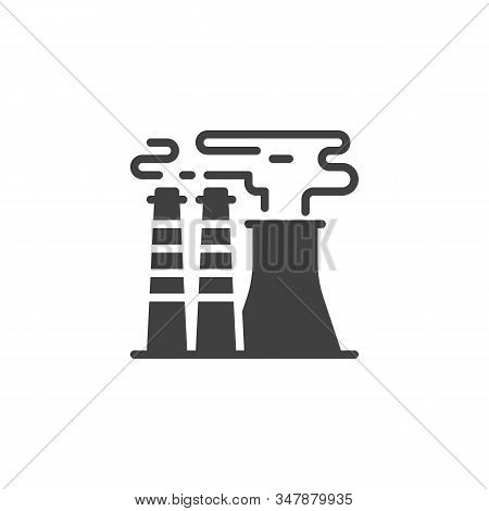 Industrial Chimney Pollution Vector Icon. Filled Flat Sign For Mobile Concept And Web Design. Power