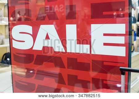 Marketing Poster.sale Shopping Season, Sale Label Sign Sticker In Front Of Shop Door Glasses, Sale S