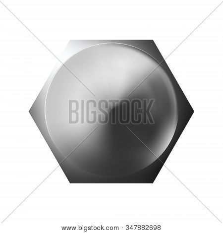 Metal Bolt Head, Shiny Cap. Twisted In Surface Isolated On White Background. Macro Chrome Top View O