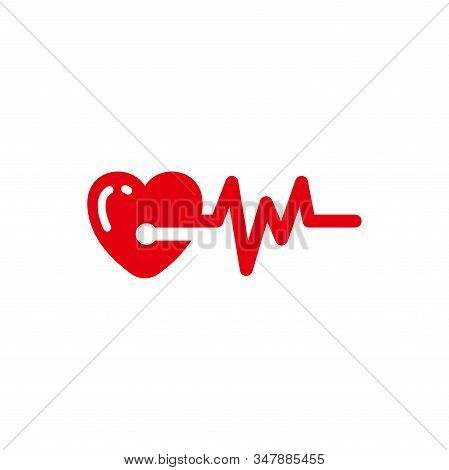 Heart Beats With Pulse Line Vector Illustration. Heartbeat Vector Icon Symbol