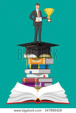 Businessman With Trophy On Stack Of Books. Business Man With Diploma. Education And Study. Business