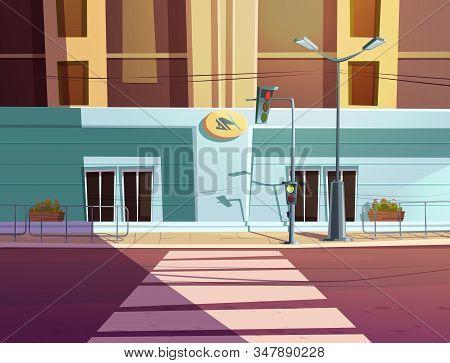 Traffic Light And Pedestrian Crosswalk On City Street. Vector Cartoon Illustration Of Empty Road Wit