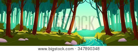 River Flowing Through Forest. Vector Background Of Nature Landscape With Green Trees, Grass And Wate