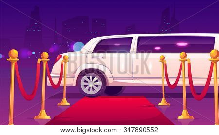 Limousine Stand At Empty Red Carpet With Rope Barrier. Luxury Limo With Closed Door On Cityscape Bac