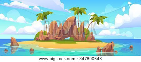Island In Ocean, Uninhabited Isle With Beach, Palm Trees And Rocks Surrounded With Sea Water And Clo