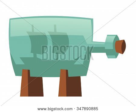 Glass Bottle With Ship Inside. Vector Cartoon Icon Of Sea Boat Miniature In Jar With Bung On Stand.