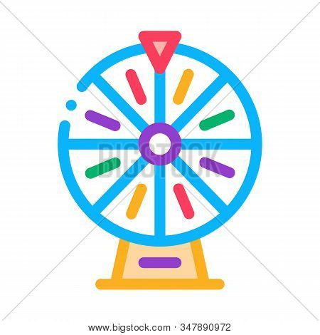 Wheel Of Fortune Icon Vector. Outline Wheel Of Fortune Sign. Isolated Contour Symbol Illustration
