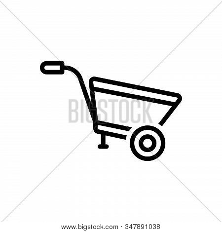 Black Line Icon For Wheel-barrow Construction Agriculture Pushcart Material Horticulture Transportat