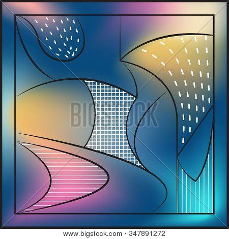 Abstract Background, Blur, Cubism. Black Frames, Lines, Arcs, White Lines, Cells, Drops. Dark Azure,
