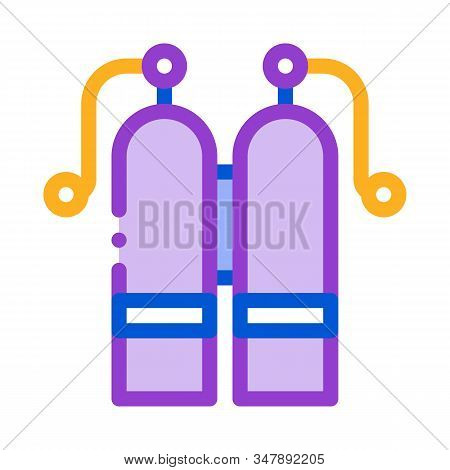 Oxygen Cylinder Icon Vector. Outline Oxygen Cylinder Sign. Isolated Contour Symbol Illustration