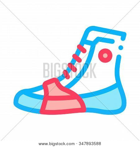 Boxing Shoes Sneakers Icon Vector. Outline Boxing Shoes Sneakers Sign. Isolated Contour Symbol Illus