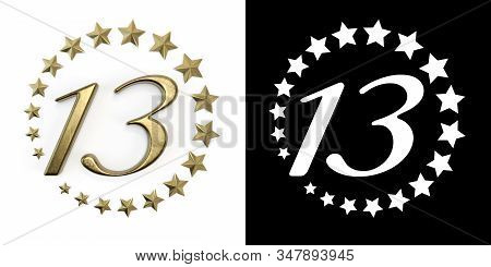 Number 13 (number Thirteen) Anniversary Celebration Design With A Circle Of Golden Stars On A White