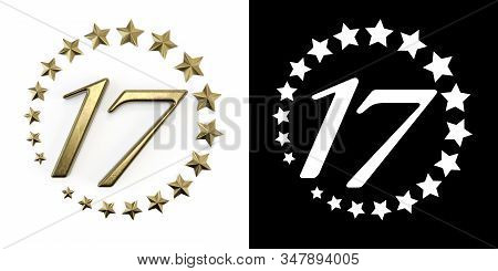 Number 17 (number Seventeen) Anniversary Celebration Design With A Circle Of Golden Stars On A White