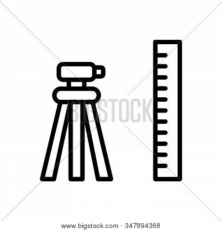 Black Line Icon For Geodetic Surveyor Constructing Measurement Topography Tool Technology