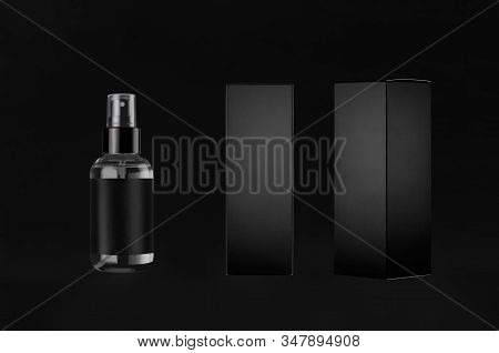 Luxury Black Mock Up For Design Of Packing  Cosmetics Product - Small Transparent Spray Bottles, Lab