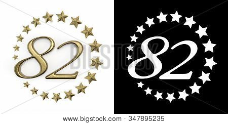 Number 82 (number Eighty-two) Anniversary Celebration Design With A Circle Of Golden Stars On A Whit