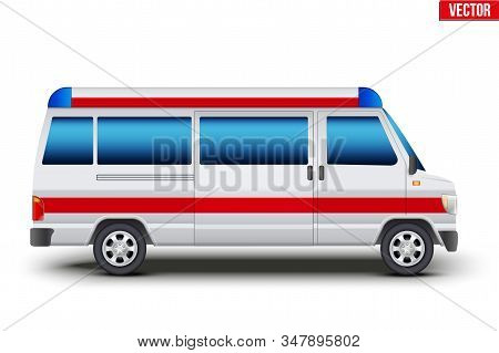 Emergency Service Rescue Van. Medical Bus Transport. Red And White Color. Editable Vector Illustrati