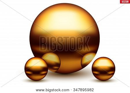 Golden Balls With Reflection. Metallic Spheres Reflected In Each Other In Gold Color. Vector Illustr