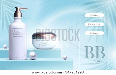 Vector 3d Elegant Cosmetic Products Background Premium Cream Jar For Skin Care Products. Luxury Faci