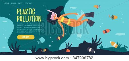 Flat Banner Inscription Plastic Pollution, Cartoon. Teenage Girl Cleans Under Water Plastic Objects