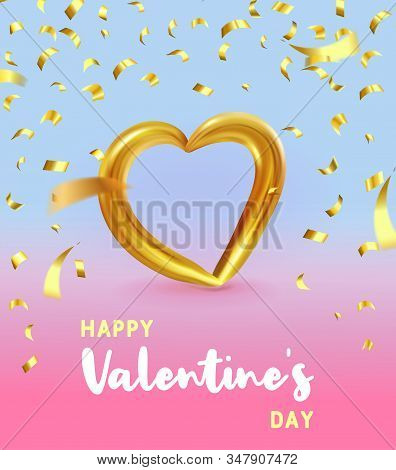 Realistic Gold Metallic Heart With Falling Golden Confetti And. Vector Valentines Heart On Modern Co