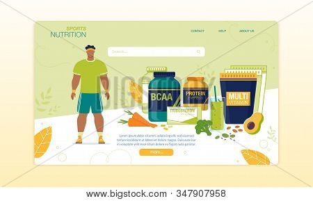 Sports Food For Active Man Delivery Landing Page. Nutritional Supplements, Bcaa, Multi Vitamin Compl
