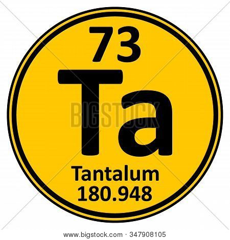Periodic Table Element Tantalum Icon On White Background. Vector Illustration.