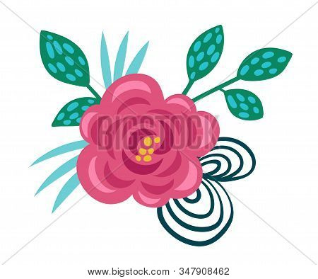 Stylized Floral Composition With Fancy Shaped Flowers Vector Illustration