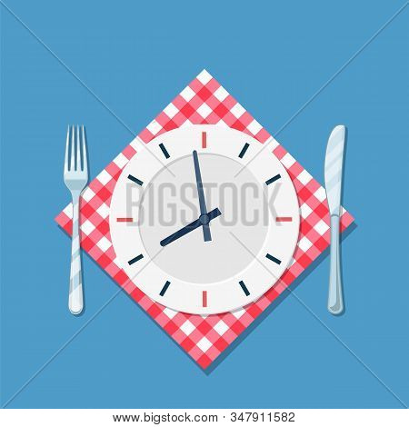 Plate With Clock, Fork And Knife Icon. Lunch Time. Eating, Nutrition Regime, Meal Time And Diet Conc